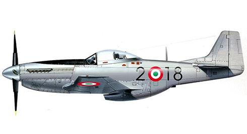 North American P-51 D Mustang perteneciente al 2º Escuadrón de combate, Aeronautica Militare Italiana, 1952.