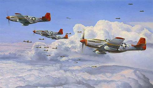 Un grupo de P-51 D Mustang del 332º Grupo de cazas escoltan a los bombarderos B-17 Flying Fortress, Alemania, 1945.