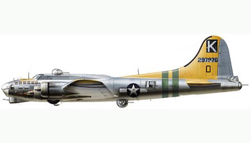 Boeing B-17G Flying Fortress apodado ''A bit O' Lace'', 447º Grupo de bombarderos, Fuerza Aérea de los Estados Unidos, 1945.