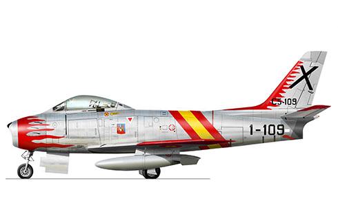 North American F-86 F Sabre, Patrulla Acrobática Ascua, Fuerza Aérea Española, 1957.