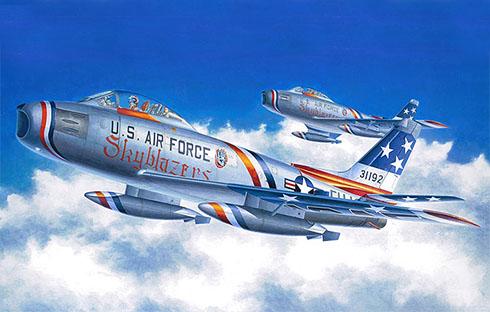 North American F-86 F Sbre, Patrulla Acrobática Skyblazers, Fuerza Aérea de los Estados Unidos, 1956.