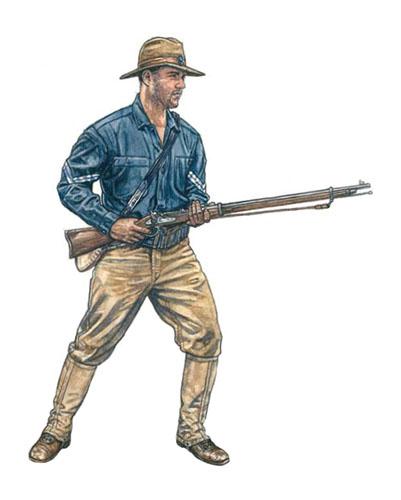 Cabo estadounidense del 20º Regimiento de voluntarios de Kansas, Filipinas, 1899.