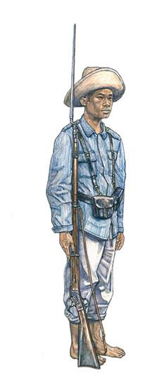 Insurgente Filipino con equipamiento español, Fuerzas de Aguinaldo, Luzón, 1898-1902.