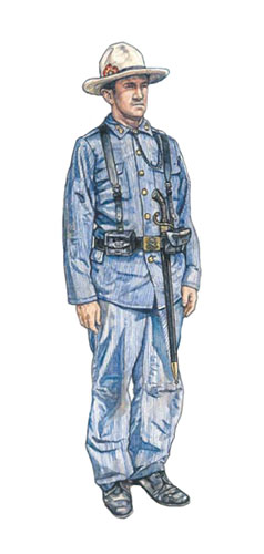 Soldado español del 6º Batallón, 4º Regimiento de Artillería, Santiago, 1898.