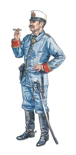 Teniente español, 1er. Real Regimiento de Caballería, 1898.