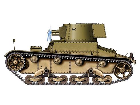 Vickers 6-ton. Mark E modelo B Finlandés perteneciente a la 4ª Compaía de blindados, Karelia, verano de 1939.