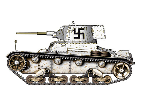 Vickers 6-ton. Mark E modelo B Finlandés, Regimiento de Tanques, Frente del Este, 1941.