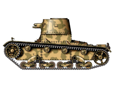 Vickers 6-ton. Mark E modelo B perteneciente al ejército de Bolivia, Gran Chaco, 1933.