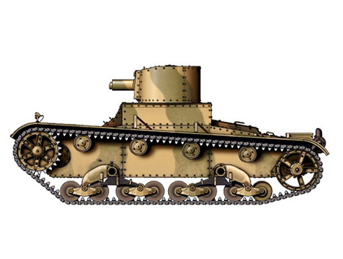 Vickers 6-ton. Marke E modelo B Bulgaro, 2ª Compañía de Blindados, Bulgaria, verano de 1941.