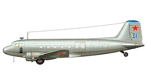 Lisunov Li-2 Cab, Fuerza Aérea Soviética, al finalizar la 2ª Guerra Mundial, fueron pintados de color gris, 1943.