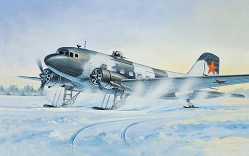 Lusinov Li-2 T Cab versión de invierno, Fuerza Aérea Soviética, finales de 1943.