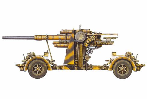 Cañón 88 mm Flak 18-36, probablemente del 90º Regimiento de Artillería, 10º División Panzer, Túnez, 1943.
