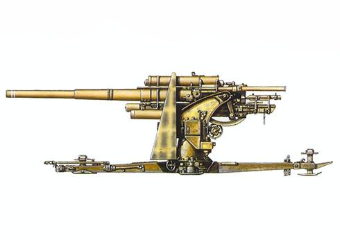 Cañón 88 mm Flak 18 del 33º Regimiento de Artillería de la Luftwaffe, 1ª División Deutsches Afrikakorps, Libia, 1942.