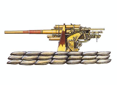 Cañón 88 mm Flak 18 perteneciente a la 1ª División, 43º Regimiento antiaéreo de la Luftwaffe, agregado a la 15º Parnzer División DAK, Libia, 1942.