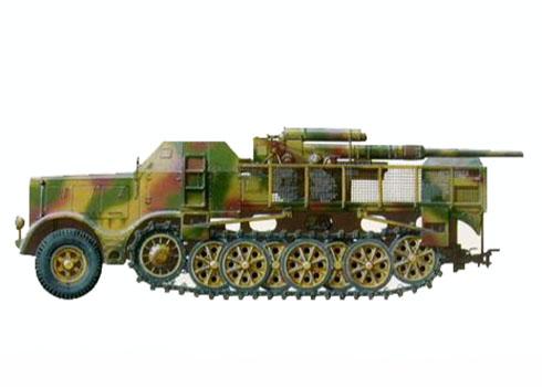 Cañón 88 mm Flak 37 montado en un Sd.Kfz. 9 FAMO, unidad desconocida.