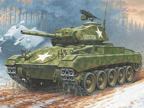 M24 Chaffee del 43º Batallón de tanques, 13ª División Acorazada, Estados Unidos.