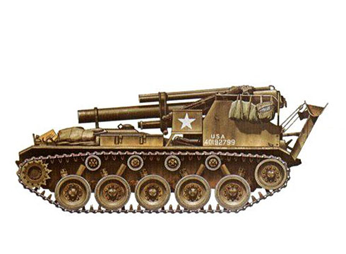 M41 Howitzer del 999º Batallón de Artillería de Campo, 24ª División de Infantería, Korea, 1951.