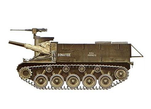 Un M37 de los EE.UU. llamado ''Bonafide'' perteneciente al 3er. Batallón de Artillería de campo, Batería B, Alemania, 1953