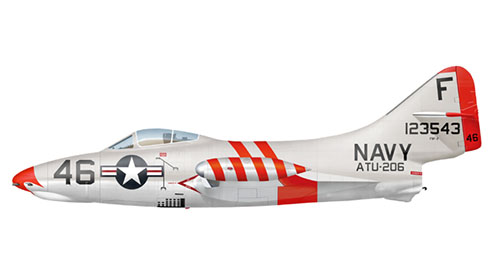 Grumman F-9 F 2 Panther, del escuadrón de ataque de los Marines VMF-311, Corea, 1950.