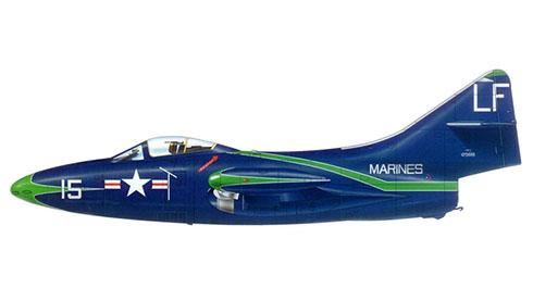 Grumman F-9 F Panther, perteneciente a VMFT 20 con base en MCAS el Toro, California, 1955.