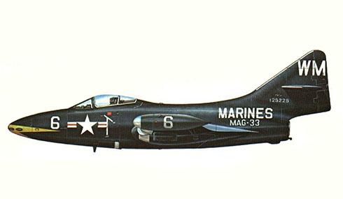 Grumman F-9 F 4, MAG-32, guerra de Corea, Corea, 1953.