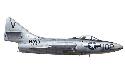 Grumman F-9 F 5 del escuadrón VF-111, USS Lake Champlain, Korea. 1953.