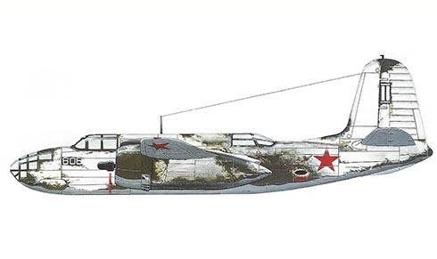Douglas A-20 B Havoc con camuflaje de invierno, Flota del Norte, Fuerza aérea Rusa.