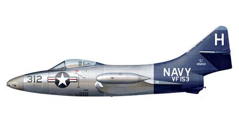 Grumman F-9 F 5 del escuadrón VF-153, USS Coral Sea, U.S. Navy, 1952.