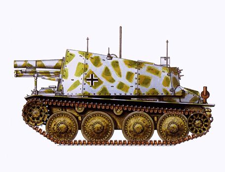 sIG 33-1 Fgst auf PzKpfw 38t Ausf. H Sd Kfz 138-1 Grille, 2ª Ski Jäger División, Frente del Este, 1944.