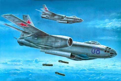 Pareja de Ilyushin Il-28 Beagle en acción, Fuerza Aérea Soviética.