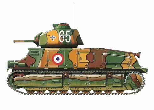 Somua S-35 perteneciente a la 1ª División Mecanizada Ligera, Francia, verano de 1940.