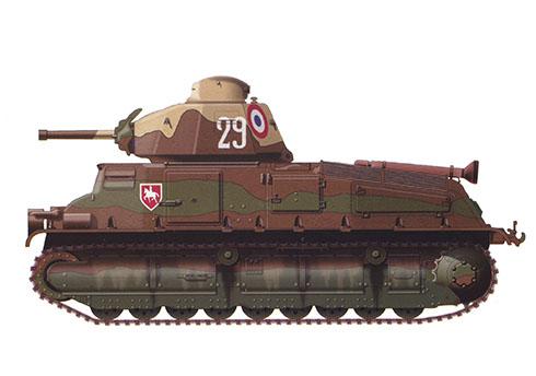 SomuaS-35, 4º Regimiento de Coraceros, 1ª División Mecanizada Ligera, Francia, 1940.
