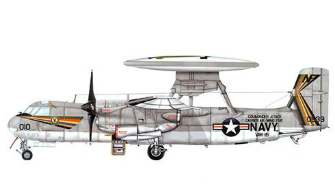Grumman E-2 B Hawkeye, VAW-115; CVA-41 USS Midway, 1973.