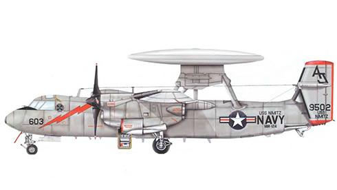 "Grumman E-2 C Hawkeye, VAW-124 ""Bear Aces"", USS Nimitz, US Navy 1981."