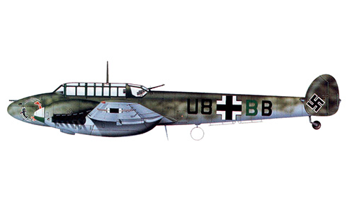Messerschmitt Bf 110C ''U8+BB'' del Hptm. Günther Specht, Gruppenadjutant del l-ZG 26, Francia, mayo de 1940.