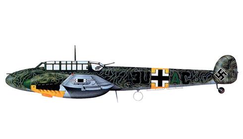 Messerschmitt Bf 110E del Hptm. Werner Thierfelder, Gruppenkommandeur del ll-ZG 26, Smolensko, enero de 1942.