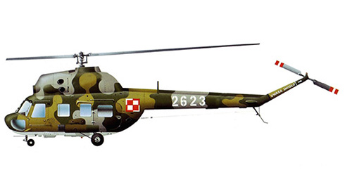 Mil Mi-2 Hoplite, Fuerza Aérea Polaca, va armado con 2 pods de misiles MARS 2 de 57 mm.