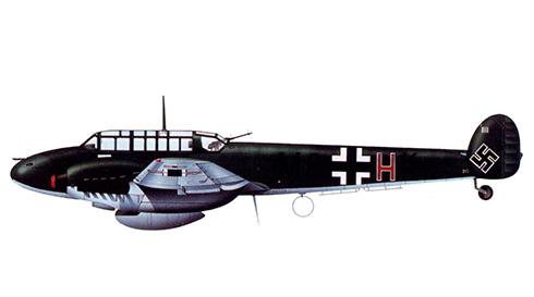 Messerschmitt Bf 110C del ObFw. Leo Schuhmacher de la 27ZG 76, Stavanger, agosto de 1940