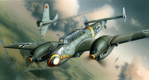 Este Bf 110 se enfrenta a los Thunderbolt transferidos a los soviéticos que ejercían de escolta a los Bombarderos B-17 y B-24 americanos que sobrevuelan Berlín.