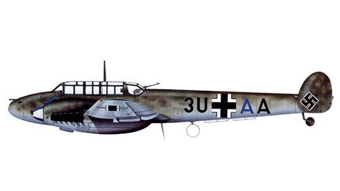 Messerschmitt Bf 110C  del OberstLt. Johann Schalk, Geschwaderkommodore de la ZG 26, Memmingen, enero de 1941.