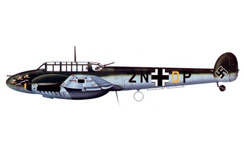 Messerschmitt Bf 110D del Feldwebel Hans Peterburs, de la 6ª-ZG 76, Stavanger, invierno de 1940-1941.