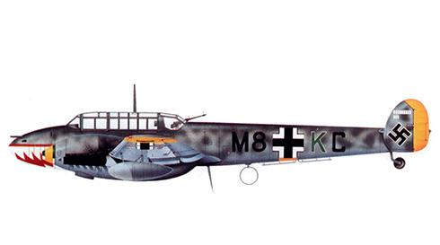 Messerschmitt Bf 110D del Maj Erich Groth, Gruppenkommandeur del ll/ZG 76, Stavanger, agosto de 1941