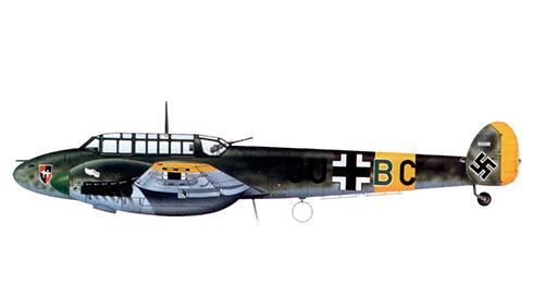 Messerschmitt Bf 110E del Hptm. Ralph von Rettberg, Gruppenkommandeur del l-ZG 26, Suwalki, junio de 1941.