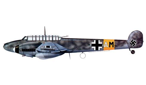 Messerschmitt Bf 110G del Oblt. Helmut Haugk, StKap de la 47ZG 76, Ansbach, marzo de 1944.