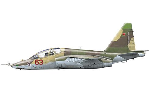 Su-25UB Frogfoot del 3er. Escuadrón Aéreo, 378º OShAP, Fuerza Aérea Soviética, Kandahar, Afghanistan, 1988.