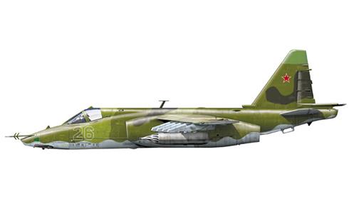 Sukhoi Su-25 Frogfoot del 1er Escuadrón Aéreo, 378º OShAP, Fuerza Aérea Soviética, Bagram, Afghanistan,1986.