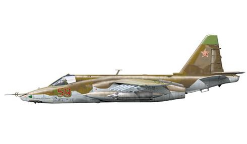 Sukhoi Su-25BM del 368º Regimiento de Asalto Aéreo, Fuerza Aérea Rusa, Budennovsk, Rusia, 2000.