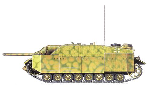 Jagdpanzer IV Sd.Kfz. 162 Ausf F perteneciente al 49º Batallón Panzer, 4ª División Panzer, Polonia, Agosto de 1944.