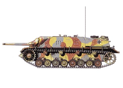 Jagdpanzer IV SdKfz. 162 Ausf F, unidad sin identificar de las Waffen SS, Hungría, primavera de 1945.