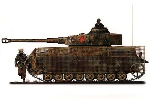 Panzerkampfwagen IV Ausf. J con armadura protectora, unidad sin identificar, Alemania, 1945.